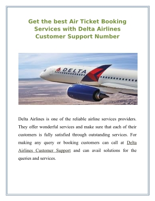 Get the best Air Ticket Booking Services with Delta Airlines Customer Support Number +1 800-201-4553