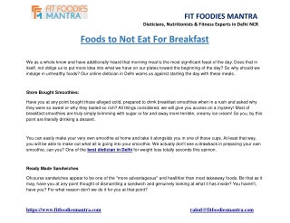 Foods to Not Eat For Breakfast