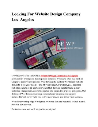Looking For Website Design Company Los Angeles