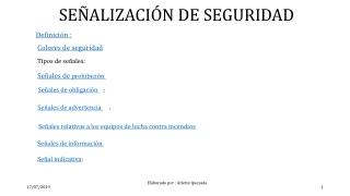 PUBLICO MI ACTIVIDAD : SEÑALIZACION DE SEGURIDAD