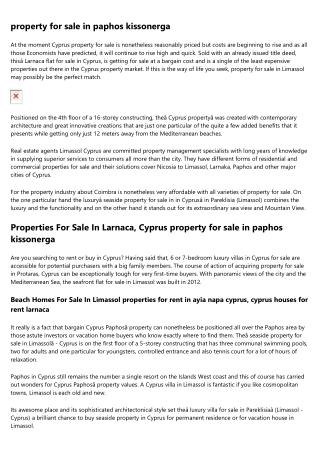 Cyprus property and EU Residency Program