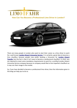 How Can You Become a Professional Limo Driver in London?