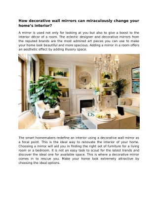 HOW DECORATIVE WALL MIRRORS CAN MIRACULOUSLY CHANGE YOUR HOME'S INTERIOR?