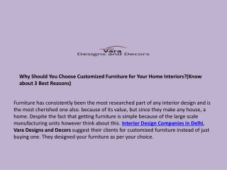 Why Should You Choose Customized Furniture for Your Home Interiors?(Know about 3 Best Reasons)