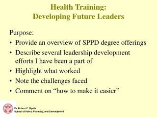 Health Training:   Developing Future Leaders