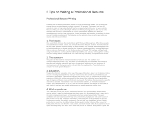 5 Tips on Writing A Professional Resume
