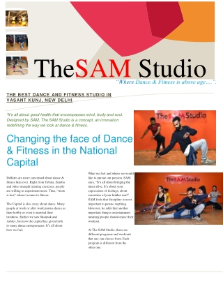 THE SAM STUDIO - Certified Fitness Coach & Dance Choreographer