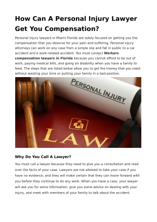 How Can A Personal Injury Lawyer Get You Compensation?