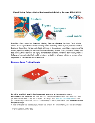 Post Cards Printing Calgary,Online Business Cards Printing Services 403-613-7995