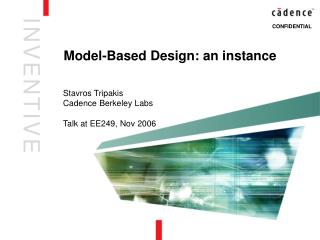 Model-Based Design: an instance