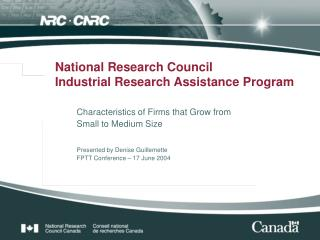 National Research Council Industrial Research Assistance Program