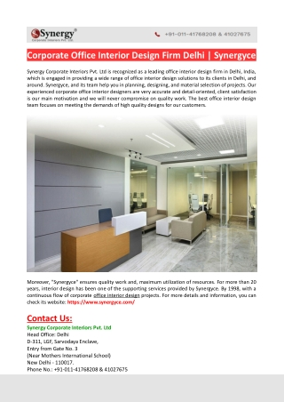 Office Interior Design Firm Delhi-Synergyce