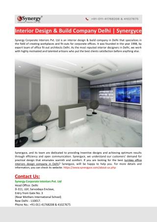 Interior Design & Build Company Delhi-Synergyce