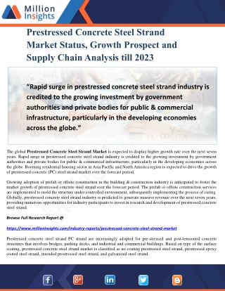 Prestressed Concrete Steel Strand Market Status, Growth Prospect and Supply Chain Analysis till 2023