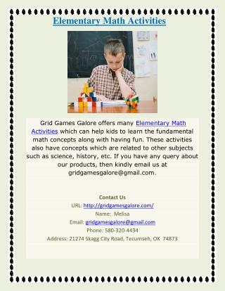 Elementary Math Activities