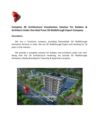 Complete 3D Architectural Visualization Solution For Builders And Developers