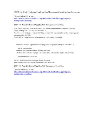 CMGT 430 Week 2 Individual Applying Risk Management Consulting//tutorfortune.com