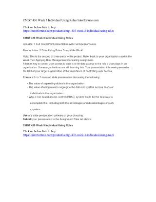CMGT 430 Week 3 Individual Using Roles//tutorfortune.com