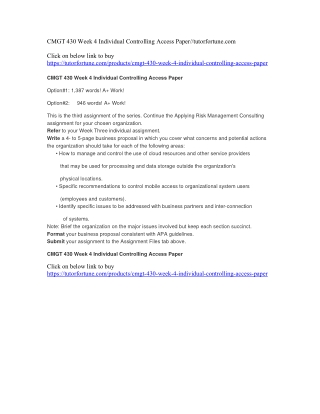 CMGT 430 Week 4 Individual Controlling Access Paper//tutorfortune.com