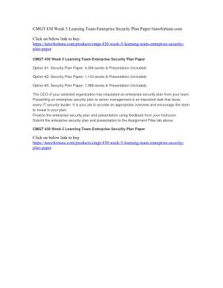 CMGT 430 Week 5 Learning Team Enterprise Security Plan Paper//tutorfortune.com