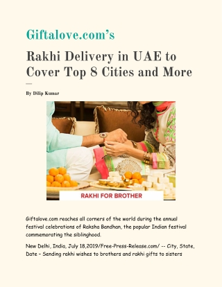 Giftalove.com's Rakhi Delivery in UAE to Cover Top 8 Cities and More - GiftaLove.com
