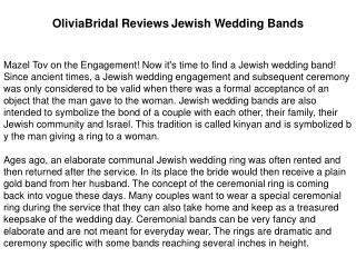 OliviaBridal Reviews Jewish Wedding Bands