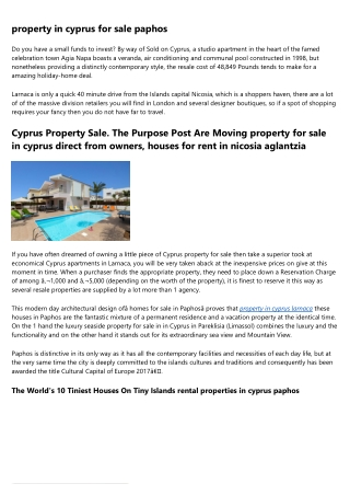 property for sale in Ayia napa and get EU Permanent Residency