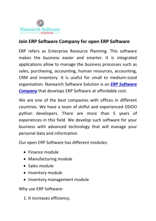 Join ERP Software Company for open ERP Software