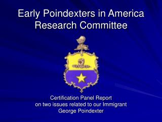 Early Poindexters in America Research Committee