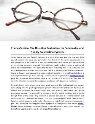 FramesFashion: The One-Stop Destination for Fashionable and Quality Prescription Eyewear