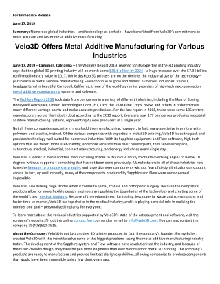 Velo3D Offers Metal Additive Manufacturing for Various Industries
