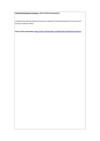 Full Stack Development Company - Best Full Stack Development
