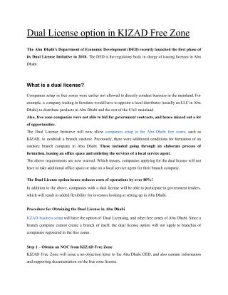 Dual License option in KIZAD Free Zone
