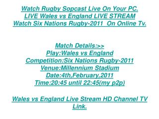 SS TV:Wales Vs England Live Stream 6 Nation Rugby | Highligh