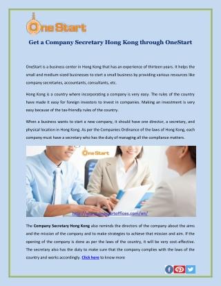 Get a Company Secretary Hong Kong through OneStart