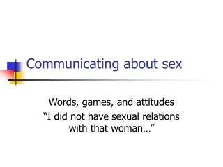 Communicating about sex