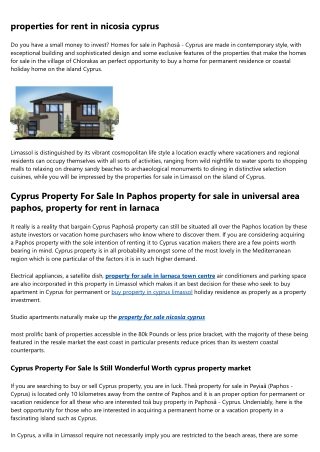 Homes and property in cyprus larnaca