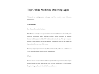 TOP ONLINE MEDICINE ORDERING APPS
