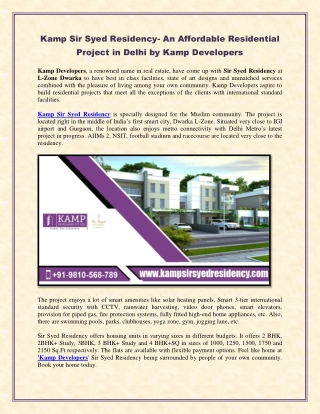 Kamp Sir Syed Residency- An Affordable Residential Project in Delhi by Kamp Developers