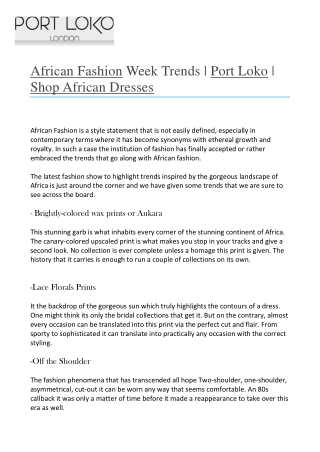 African Fashion Week Trends - Port Loko - Shop African Dresses-converted