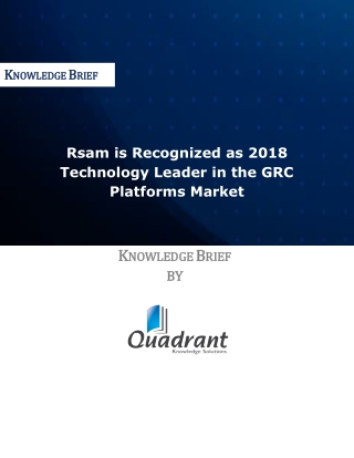 Rsam is Recognized as 2018 Technology Leader in the GRC Platforms Market