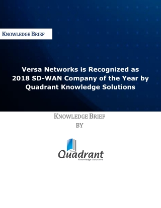 Versa Networks is Recognized as 2018 SD-WAN Company of the Year by Quadrant Knowledge Solutions