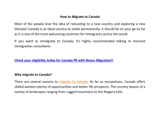 How to Apply for Canada Visa | Migrate to Canada