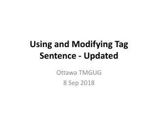 Using and Modifying Tag Sentence - Updated