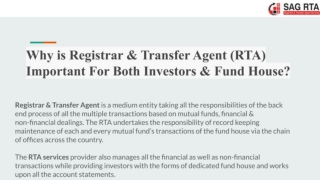 Registrar and Transfer Agent Important For Both Investors & Fund House