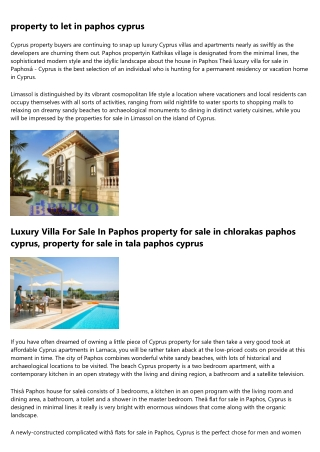 property for sale in paphos area and Cyprus Residency Visa