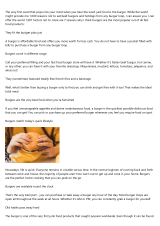 Quick and Easy Burger Recipes