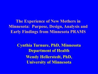 The Experience of New Mothers in Minnesota:  Purpose, Design, Analysis and Early Findings from Minnesota PRAMS