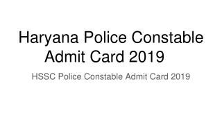 Haryana Police Constable Admit Card 2019