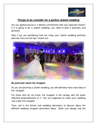 Things to be consider for a perfect Jewish wedding